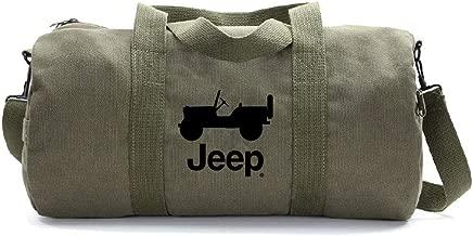 Grab A Smile JEEP CJ Heavyweight Canvas Duffel Bag, Olive & Black (Large)