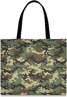 DOSHINE Tragetasche aus Segeltuch, Camouflage, abstrakt, wiederverwendbar, Einkaufstasche, Schule, Schultertasche für Damen, Mädchen