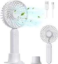 LORDSON Handheld Ventilator, Elektrische USB Fan met Verwijderbare Voet en Houder voor Mobiele Telefoon, 3 Snelheden Burea...