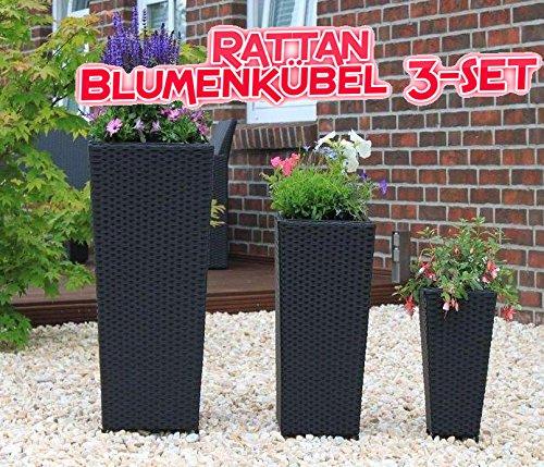 3 Set Poly Rattan Kunstrattan Pflanzkübel Blumenkübel Schwarz !!