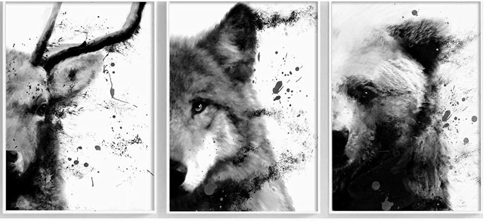 TITICC Bear Wolf Deer Nordic Cheap mail order sales Posters White Prints Ranking TOP11 Anim Black and