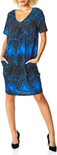 Roman Originals Women Animal Print Dress with Pockets Ladies Leopard Tunic Shift Jersey Stretchy Slouch Office Smock Smart...