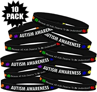 Fight Like a Girl Autism Awareness Because Every Kid Deserves to Be Understood Silicone Wristband Bracelet 10 Pack
