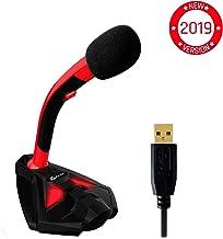 ??KLIM™ Voice Micrófono USB con Base para Ordenador - Micro de Escritorio, Micrófono para Jugadores - Rojo y Negro - Nueva Versión 2019