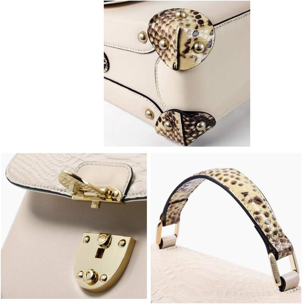 Sac à bandoulière en Cuir de Nouveau modèle Simple Serpent Femmes (Couleur : Blanc) Blanc