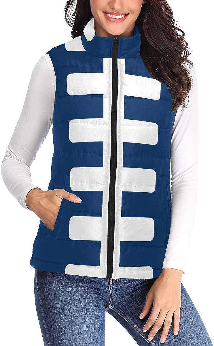 InterestPrint Women's Quilted Puffer Vest Warm Winter Vest with Zipper American Football Field Chocolate