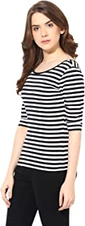 ALIYAA Casual wear Black and White Striped top for Women and Girls