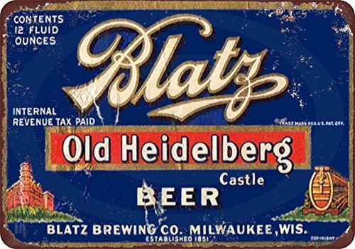 Custom Kraze Blatz Old Heidelberg Bier Vintage Look Reproduktion Metallschild 8x12