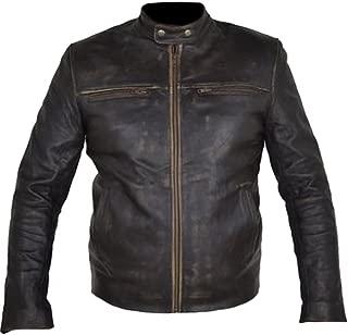 Classyak Men's Hunger Biker Games Cowhide Jacket