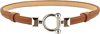 أحزمة رفيعة للنساء حزام جلدي رفيع للفستان قابل للتعديل حزام خصر رفيع للسيدات مع مشبك ذهبي من لورجاماكس
