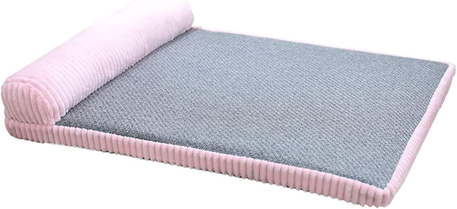 Deluxe Soft Washable Bed Cushion with Pillow, Corduroy and Smooth Velveteen Fabric, Detachable and Washable, Suitable for Small Dogs  Pink (Size   M(47×57cm))