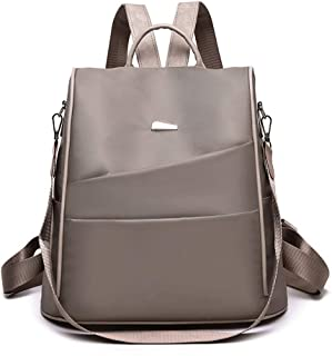 The New Backpack Female Oxford Cloth Wild Backpack Fashion Leisure School Bag Travel Toiletry Bag Garment Bags for Travel ; (Color : Khaki)