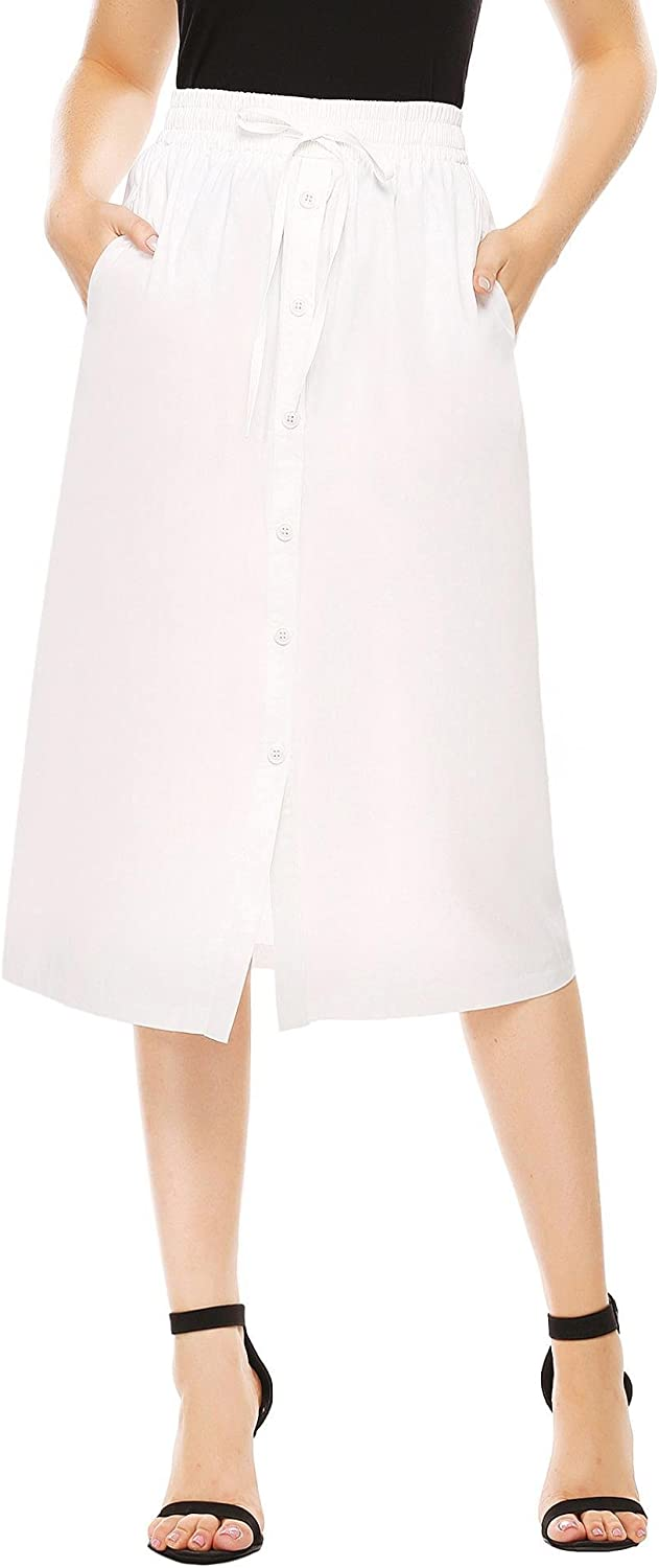 Shine Women's ALine High Waisted Button Front Drawstring Pleated Midi Skirt with Elastic Waist Knee Length