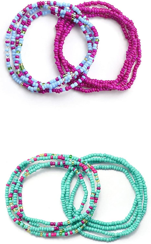 4-7 Pcs Waist Bead Set Colorful Waist Bead Belly Bead African Body Chain Beaded Chains Bikini Jewelry Body Chain Summer Jewelry Boho Bikini Waist Beads Body Jewelry for Woman