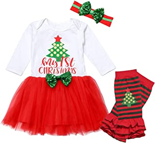 Walsoner My 1ST Christmas Letter Print Dress Baby Girls Long Sleeve Christmas Tree Print Dress Toddlers Tutu Dress Clothes Set