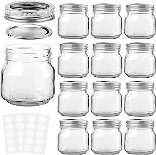 KAMOTA Mason Jars 8 oz With Regular Lids and Bands, Ideal for Jam, Honey, Wedding Favors, Shower Favors, Baby Foods, DIY M...