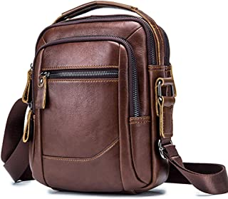 Leather Crossbody,Shoulder Bags,Messenger Bag for Men,Leather Bag,Small Satchel Handbag (Brown)