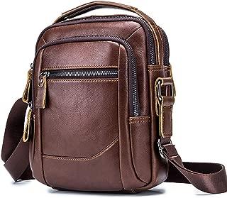 Leather Crossbody,Shoulder Bags,Messenger Bag for Men,Leather Bag,Small Satchel Handbag (Brown)