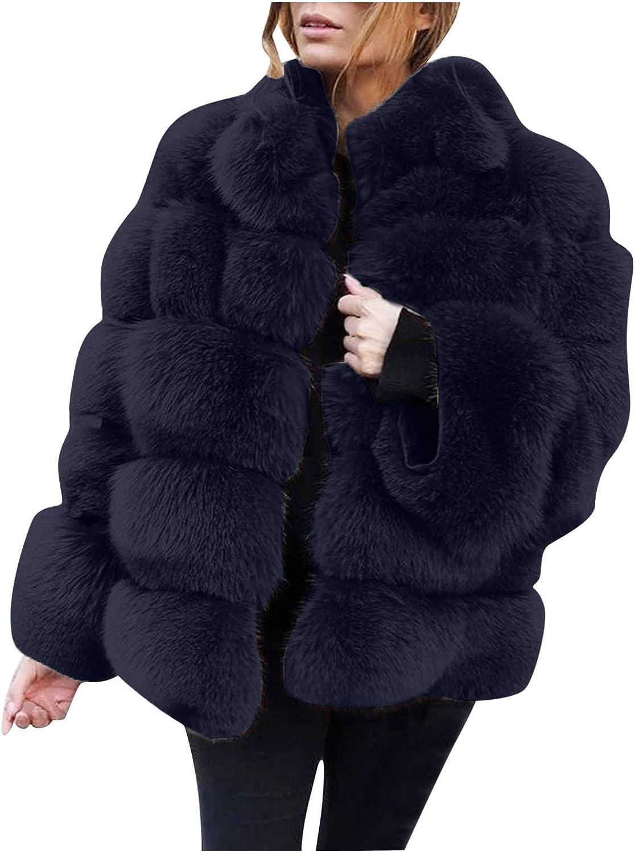 FUNEY Women's Luxury Fur Faux Short Coat Plus Size Warm Furry Long Sleeve Fashion Outdoor Jacket Outerwear