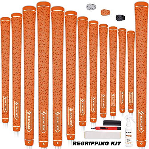 SAPLIZE 13 Piece Golf Grips Standard with Regripping Kit All Weather Anti-Slip Rubber Golf Club Grips