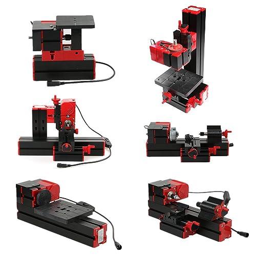 KKmoon Mini DIY 6 en 1 Machine-outil Multifonctionnelle, Scieuse Fraiseuse Perceuse Foreuse Rectifieuse Broyeur, Tour de Bois/Métal 100-240V