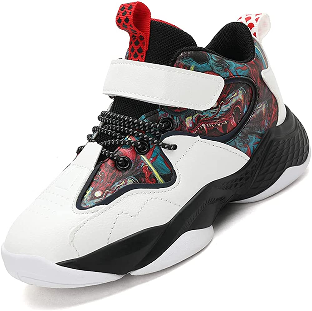 MEIRENQIAO Children's Basketball Shoes Boys' Sports Shoes Girls' Sporty Comfort High-top Boys' Fashion and Handsome Basketball Shoes