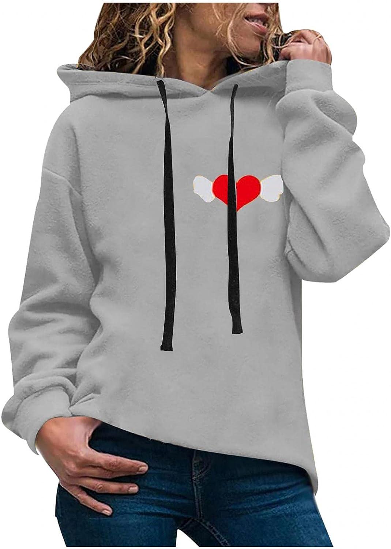 Toeava Women's Fashion Hoodies Sweatshirts Casual Long Sleeve Heart Graphic Sweatshirt Hooded Pullover Jumper Tops