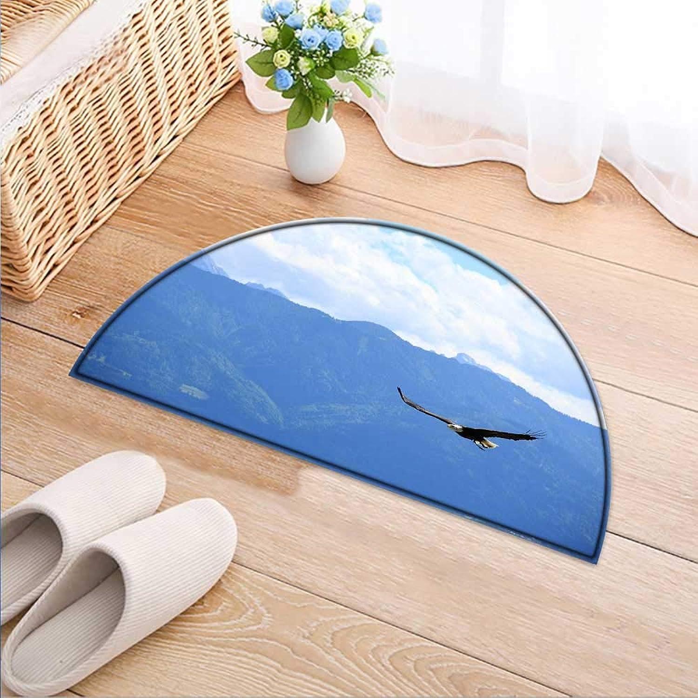 Semicircle Rug Kid Carpet an Eagle Flies in The Mountains Home Decor Foor Carpe W47 x H32 INCH
