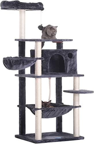 discount Hey-Brother Extra popular Big Cat Tree with Feeding Bowl, Cat Condos with Sisal Poles, Hammock and Cave, Padded sale Platform, Climbing Tree for Cats, Anti-toppling Devices sale