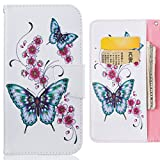 """LEMORRY Per Apple iPhone 6 (4.7) Custodia Pelle Cuoio Flip Portafoglio Borsa Protettivo Magnetico Morbido Silicone TPU Cover Custodia per iPhone 6 (4.7""""), Farfalla Stampa"""