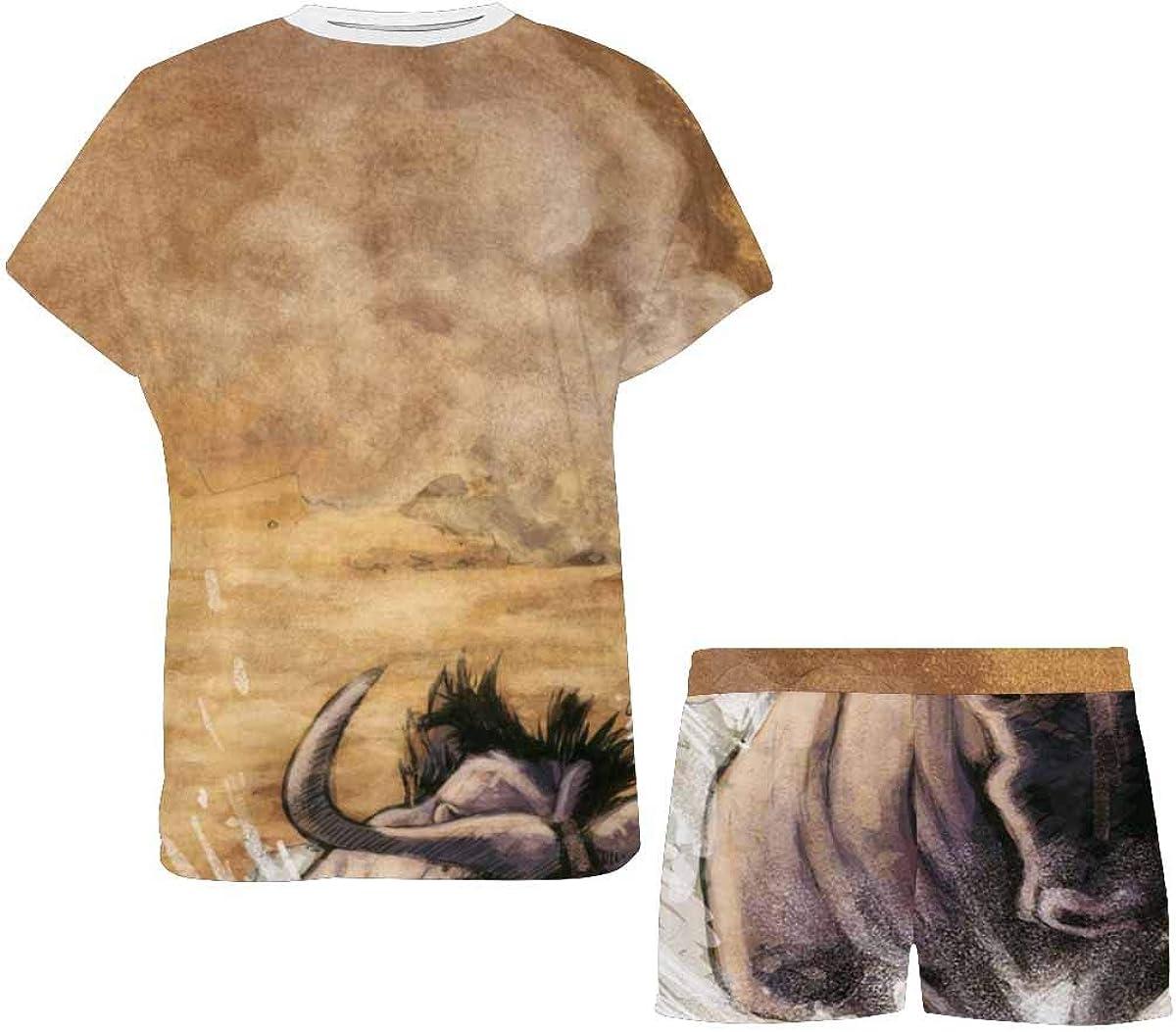 INTERESTPRINT Lioness Hunting Women's Breathable 2 Piece Shorts Pajama Sleepwear Set