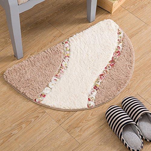 S Tapis semi-circulaire de tapis de chambre à coucher en trois dimensions de fleurs de tapis de tapis ( Couleur : Marron , taille : 50*80cm )