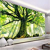 Lcymt 自然の木々がそびえ立つ古い木々の写真の壁紙リビングルームのソファの背景の壁の装飾-200X140Cm