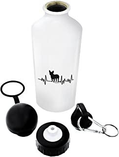 ThisWear Dog Lover Heartbeat French Bulldog Lover Gifts Dog Gift Aluminum Water Bottle with Cap & Sport Top