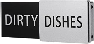 Premium Metal Dishwasher Magnet Clean Dirty Sign | Contemporary Indicator - Best Kitchen Gadgets for All Dishwashers - For Home or Office Organization Using Padded Magnets or TWO 3M Tabs