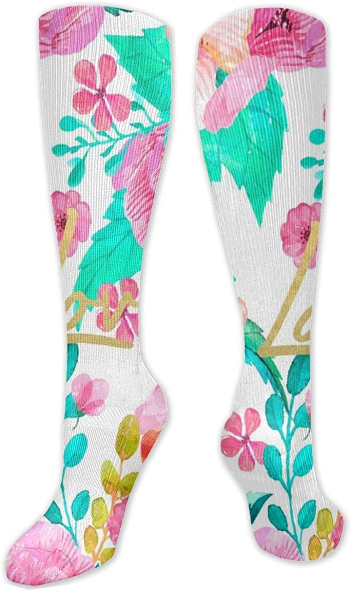 Flower And Blossom Ink Pattern Knee High Socks Leg Warmer Dresses Long Boot Stockings For Womens Cosplay Daily Wear