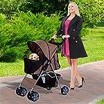 PawHut Pet Stroller Cat Dog Basket Zipper Entry Fold Cup Holder Carrier Cart Wheels Travel Brown 12