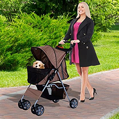 PawHut Pet Stroller Cat Dog Basket Zipper Entry Fold Cup Holder Carrier Cart Wheels Travel Brown 3