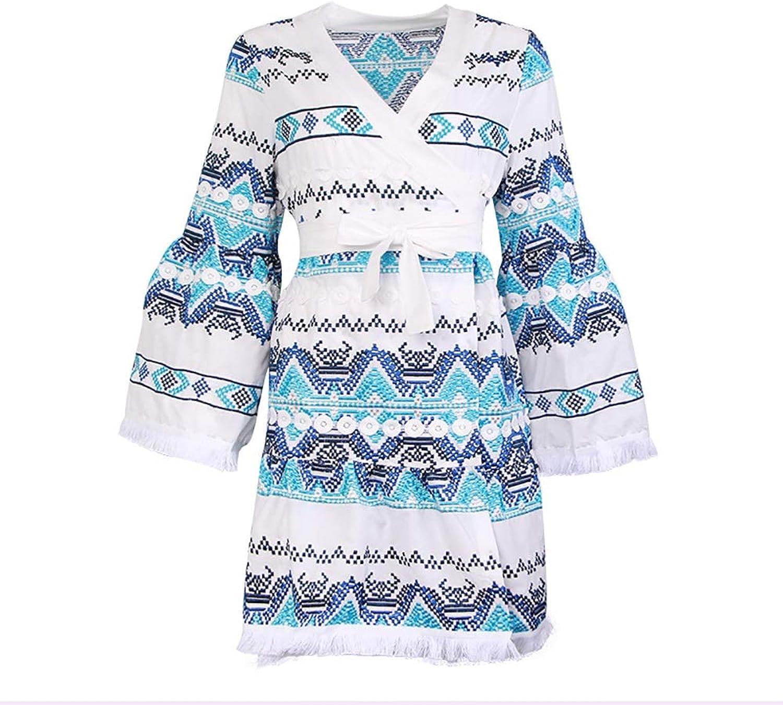 Beach Style Printed Fashion Dress Women's Dress Summer New Trumpet Sleeves High Waist Tie VNeck ALine Dress,bluee,S