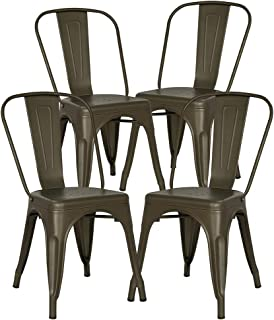 Poly and Bark Trattoria Kitchen and Dining Metal Side Chair in Bronze (Set of 4)