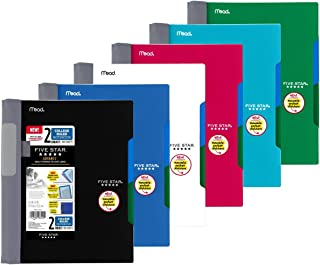 Five Star Advance Spiral Notebook-Medium Size, 2 Subject, College Ruled, 9.5 x 6 Inch, Assorted Colors, 6 Pack