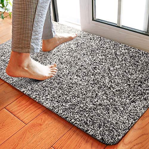 Delxo 24 x 36 Inch Magic Doormat Absorbs Mud Doormat No Odor Durable Anti-Slip Rubber Back Low-Profile Entrance Door Mat Large Cotton Shoe Scraper Pet Mat Machine Washable (Grey 24''x36'')