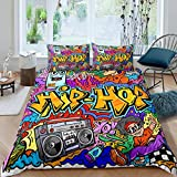 Feelyou 3Pcs Kids Graffiti Duvet Cover Set Queen Size Teens Boys Hip Hop Rock Music Bedding Set Colorful Trippy Street Sports Comforter Cover Set Abstract Art Quilt Cover with 2 Pillowcases,Multicolor
