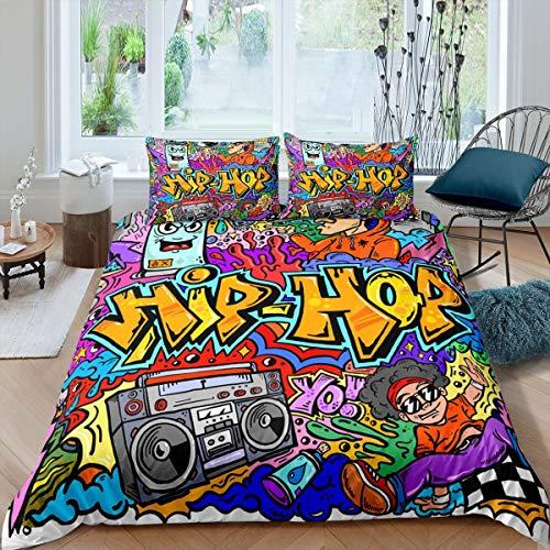 Hip Hop Radio Rock Youth Kids Graffiti Juego de ropa de cama para niños, colorida novedad decorativa funda nórdica Super King de 3 piezas (1 funda nórdica + 2 fundas de almohada), cremallera