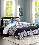 Teen Girl Bedding Damask Girls Comforter Black White Aqua Teal Twin/Twin XL Dorm + Gorgeous Throw Pillows + Sham & Home Style Sleep Mask Bed Bedspread Sets for Kids Teenage Teens Floral Medallion