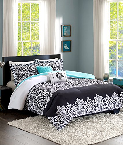 Teen Girl Bedding Damask Girls Comforter Black White Aqua Teal Full Queen + Gorgeous Throw Pillows + Shams & Home Style Sleep Mask Bed Bedspread Sets for Kids Teenage Teens Floral Medallion
