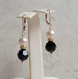 Jet Black Crystal Simulated White Pearl Gold Filled Leverback Earrings Gift Idea