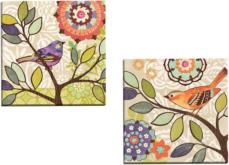 Portfolio Canvas Decor  Bird Bliss orange by Jennifer Brinley Wrapped Stretched Canvas Wall Art, 16 x 16