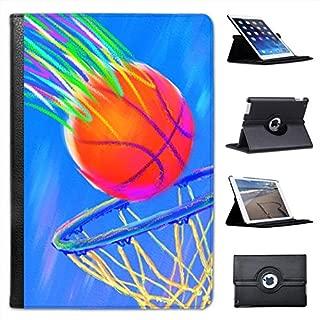 Children's Chalk Drawing of Basketball Going in Net for Apple iPad Mini, iPad Mini 2, iPad Mini Retina, iPad Mini 3 Faux Leather Folio Presenter Case Cover Bag with Stand Capability