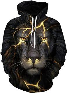 LKJDIE Men 3D Printed Animal Wolf Pullover Hoodie Unisex Hooded Sweatshirt